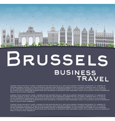 Brussels skyline with grey building vector