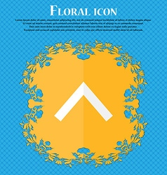 Direction arrow up floral flat design on a blue vector
