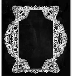 Oriental ornate floral frame vignette vector