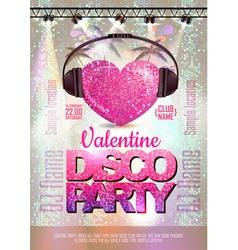 Love heart background valentine disco poster vector