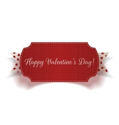 Realistic Valentines Day greeting Card and Ribbon vector image