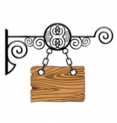 Wood board on the chains vector