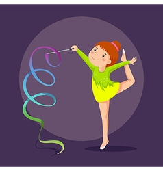 Little girl gymnast performing with ribbon vector
