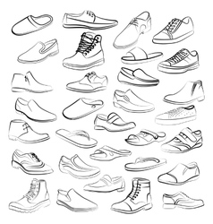 Set of men shoes painted lines in vector