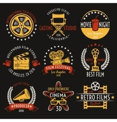 Cinema Retro Style Emblems Set vector image