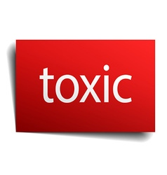 Toxic red paper sign on white background vector