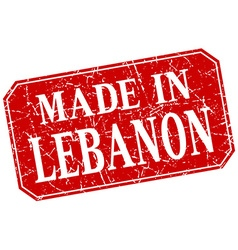Made in lebanon red square grunge stamp vector