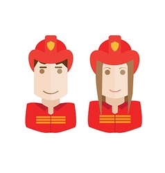 Objects firefighters avatar set vector