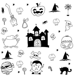 Doodle halloween castle and ornament vector