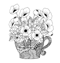 Zen tangle cup and poppies vector