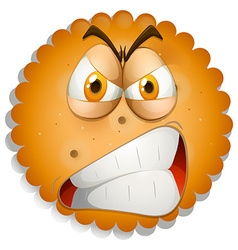 Angry face on cookie vector image vector image