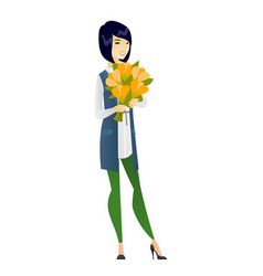 Asian business woman holding a bouquet of flowers vector