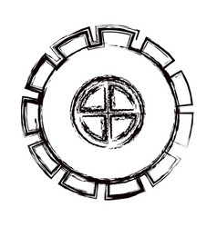 Blurred thick contour gear wheel pinion icon vector