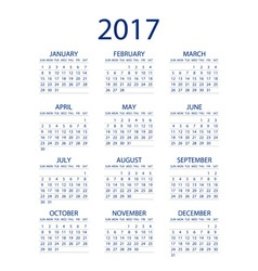 Calendar for 2017 on white background EPS10 vector image vector image