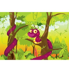 Cartoon of a snake in the jungle vector image