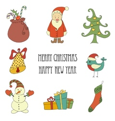 Christmas retro elements and lettering vector