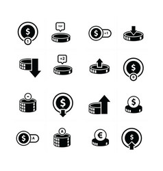 Coin and bubbles icon 16 item vector
