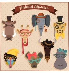 Cute fashion Hipster African Animals vector image