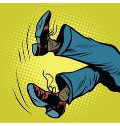 Feet man falls vector