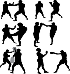 fighting silhouettes of black people vector image