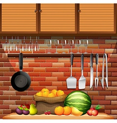 Fresh fruits in the kitchen vector