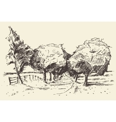 Hand drawn landscape trees meadow vector image