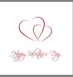 happy valentines day card with two heart vector image vector image