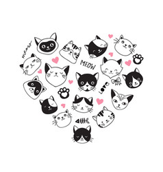 hearth-shaped collection of cat icons vector image vector image