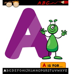 letter a with alien cartoon vector image
