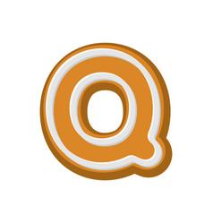 Letter q gingerbread peppermint honey-cake font vector