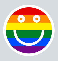 lgbt rainbow flag smiling face smiley icon vector image