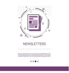 Newsletter application newspaper web banner with vector