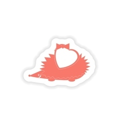 Paper sticker on white background hedgehog heart vector