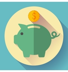 Piggy bank with a coin vector image