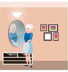 pretty girl with mirror vector image