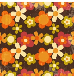 Retro Style Colorful Flower Seamless Pattern vector image