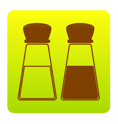 Salt and pepper sign brown icon at green vector