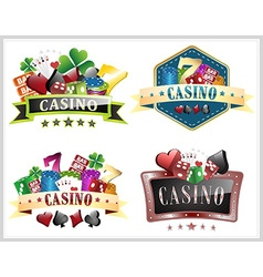 Set of casino with gamling elements ornate frame vector