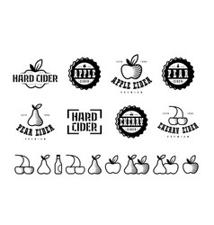 set of hard cider label logo and icons vector image