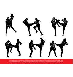 set of thai boxing silhouettes in action vector image vector image