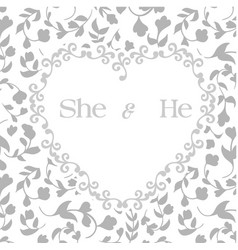 She he heart frame retro grey background vector