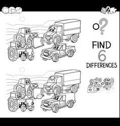 Spot the difference with cars coloring book vector