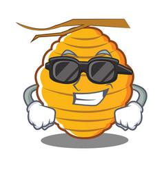 Super cool bee hive character cartoon vector