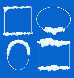 thin lined frame collection with snow on blue vector image vector image