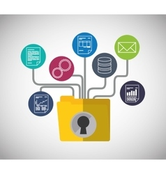 Web hosting file padlock document design vector