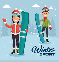 winter sports pepople with snowboard and skis vector image