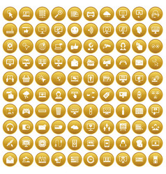 100 internet icons set gold vector