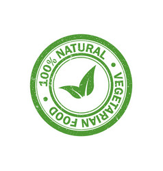 100 natural food stamp vegetarian food icon vector image