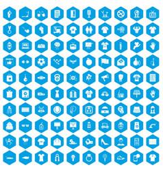 100 t-shirt icons set blue vector