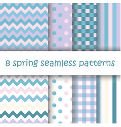 Set of geometric seamless pattern in pastel colors vector